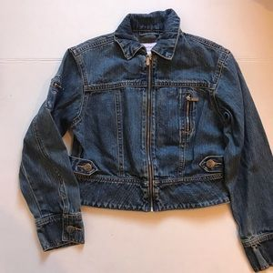 American girl jean jacket with flowers